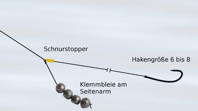 Die Montage ist so fängig wie simpel: Die Klemmbleie sitzen auf einem Seitenarm. Die Vorfachlänge lässt sich durch Verschieben des Stoppers varieren.